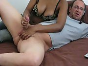 Wife giving me a hand-job while on webcam