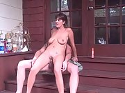 Yam-sized titted amateur brunette ravaging on the porch