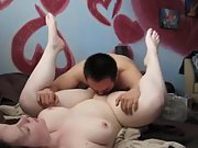 Fat amateur couple having some ultra-kinky fun in bed