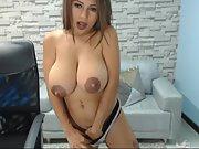 Amateur hottie huge-chested slut webcam with amazing areolas p1