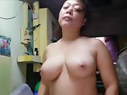 Gorgeous asian with immense natural tits suck fuck and swallow