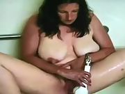 Wife with enormous natural hangers playing with the shower head 2
