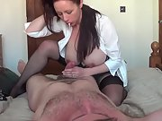Huge-chested wifey hand-job and riding cowgirl