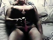 Horny mature fuckin her humid pussy